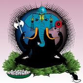 foto of lord krishna  - Colorful illustration with a portrait of the idol Lord Ganesha - JPG