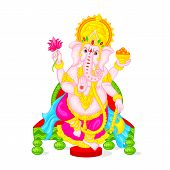 image of ganapati  - easy to edit vector illustration of Lord Ganesha  in floral design - JPG
