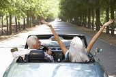 picture of senior adult  - Senior couple in sports car - JPG