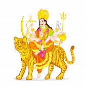 stock photo of navratri  - easy to edit vector illustration of Goddess Durga - JPG