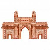 stock photo of british bombay  - easy to edit vector illustration of Gateway of India  in floral design - JPG