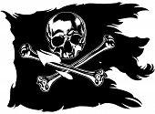 stock photo of skull crossbones flag  - black pirate flag with skull and crossbones - JPG