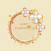 image of friendship day  - Happy Friendship Day celebrations greeting card design with silver flowers on beige background - JPG