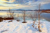stock photo of arctic landscape  - Landscape with the lake in polar Arctic Lapland - JPG