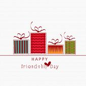 image of friendship day  - Colourful gift boxes on white background for Happy Friendship Day celebrations - JPG