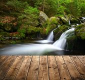 picture of cataract  - Mountain creek with wooden planks - JPG