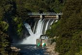 foto of hydro  - Water been release out of a New Zealand hydro power dams - JPG