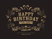 foto of birthday  - Birthday card design vintage frame style background template - JPG