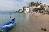 stock photo of revelation  - Beach at the Scala port of Patmos island in Greece - JPG