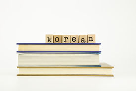 picture of dialect  - korean word on wood stamps stack on books language and education concept - JPG