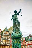 picture of frankfurt am main  - Lady Justice sculpture at the Old town in Frankfurt am Maine Germany - JPG