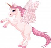picture of fairy tail  - Illustration of beautiful pink Unicorn Pegasus - JPG