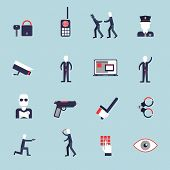 foto of rogue  - Security guard flat icons set with surveillance camera handcuffs guard isolated vector illustration - JPG