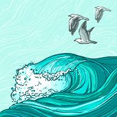 picture of water bird  - Waves flowing water hand drawn sea ocean and seagull birds colored background vector illustration - JPG