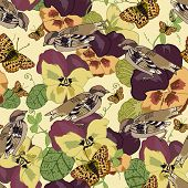 stock photo of viola  - Vintage flowers seamless pattern with pansy petunia viola butterflies and sparrow birds vector illustration - JPG