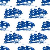 picture of galleon  - Seamless pattern of a fully rigged sailing ship with blue sails in side view for marine or nautical concepts - JPG