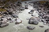 foto of hookers  - Hooker River in Aoraki national park New Zealand - JPG