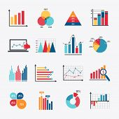 stock photo of dots  - Business data market elements dot bar pie charts diagrams and graphs flat icons set isolated vector illustration - JPG
