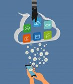 picture of hack  - Vector illustration of cloud hacking during synchronization process - JPG