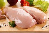 image of turkey-hen  - Raw chicken breasts on cutting board - JPG