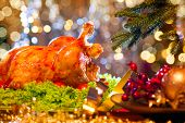 picture of turkey dinner  - Christmas table setting with turkey - JPG