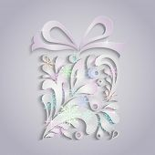 picture of applique  - Christmas present box applique vector greeting card - JPG