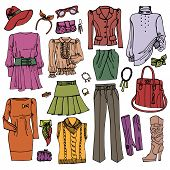 Постер, плакат: Fashion Sketchy Females clothing and accessories set