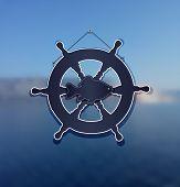 stock photo of rudder  - background sea rudder fish water blue raster - JPG