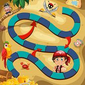 image of pirate sword  - Illustration of a boardgame with pirate background - JPG