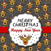 image of messy  - Reindeers in Santa Claus hats messy Christmas winter holidays seamless pattern on dark background with retro shaped frame and ribbon with Christmas wishes in English - JPG