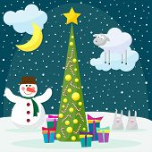 stock photo of glass-wool  - Winter card background with funny snowman rabbits fir with glass holiday balls and sheep the symbol of the new year of the sheep - JPG
