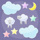 stock photo of inference  - Funny background with moon clouds stars and sheep - JPG