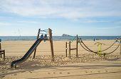 image of costa blanca  - Leisure equipment on Benidorm beach Costa Blanca Spain - JPG