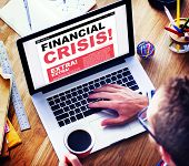 stock photo of crisis  - Digital Online News Headline Financial Crisis Concept - JPG