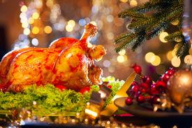 stock photo of christmas dinner  - Christmas table setting with turkey - JPG