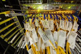 stock photo of supercomputer  - detail of modern hi tech data server in network center - JPG