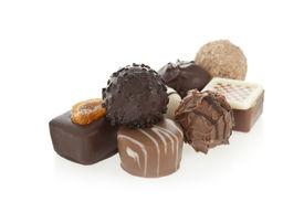 image of bonbon  - Gourmet chocolate bonbons isolated on white background - JPG