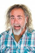 foto of hysterics  - Laughing adult male with long and beard - JPG