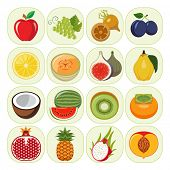 stock photo of kindness  - Set of different kinds of fruit icons - JPG