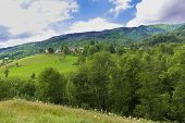 stock photo of naturel  - Rolling hills in the Pyrenees in Boussenac - JPG
