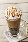 picture of frappe  - iced coffee with milk and caramel ice cream - JPG