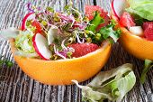 picture of radish  - Grapefruit salad in grapefruit bowl with radish - JPG