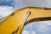 pic of hydraulics  - Detail of hydraulic bulldozer piston excavator arm - JPG
