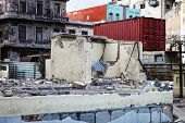 image of malecon  - old ruined house with empty windows - JPG