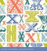 stock photo of letter x  - Seamless vintage pattern of the letter X in retro colors - JPG