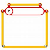 foto of quotation mark  - Red frame for headline and quotation mark - JPG