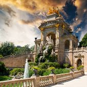 pic of fountains  - Beautiful view fountain at the zoo of Barcelona at sunset - JPG