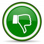 picture of dislike  - dislike green icon thumb down sign  - JPG