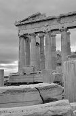 picture of parthenon  - A view of the Parthenon from among some masonry on the Acropolis in Athens - JPG