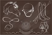 pic of horse-riders  - Vector set of icons and symbols for sports games polo - JPG